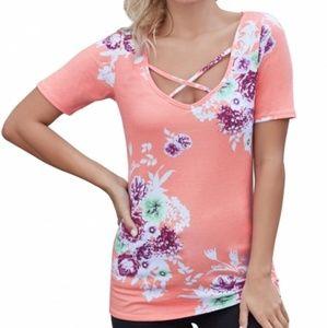 Pink Floral Crisscross Neck Detail Top